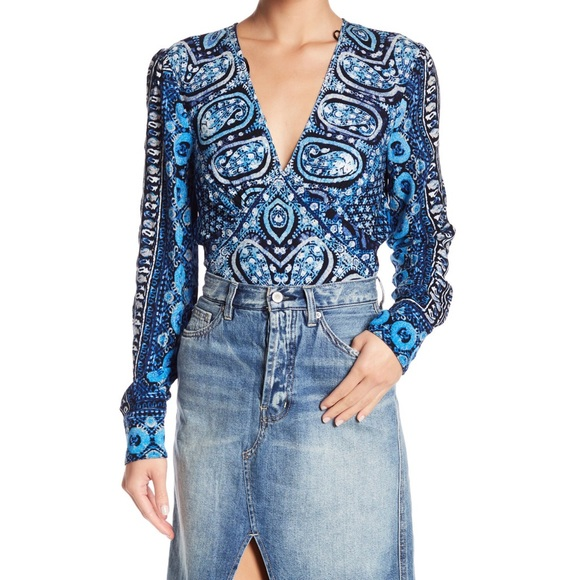 NWT Free People Black Beaded Embellished Cinched Lace Top